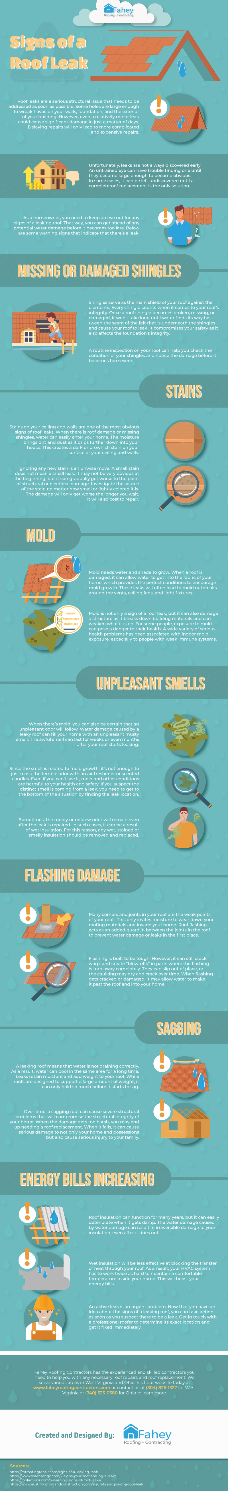 Signs of a Roof Leak Infographic